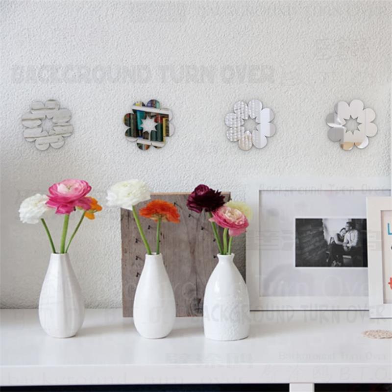 varios diy lindo extrable flor pegatinas de pared de espejos decorativos para tienda de nios