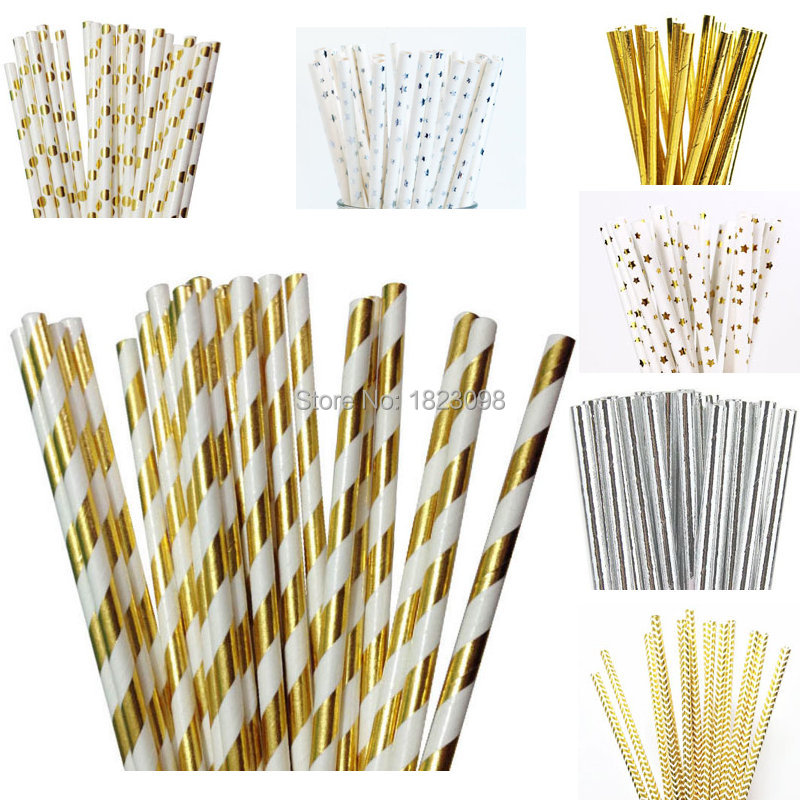 decorative straws for weddings 25pcs lot foil gold silver design paper straws 3463