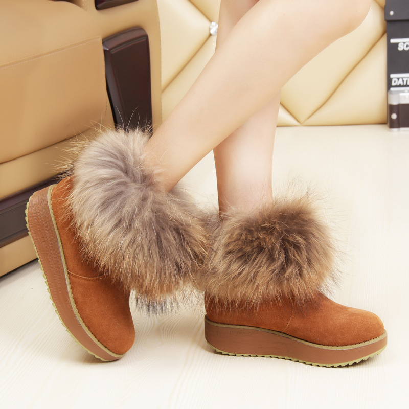 2017 Women Winter Boots Fox Fur Waterproof Genuine Cowhide Leather Plush Wedge Platform Ankle Snow Boots Warm Shoes Mujer Botas 2016 rhinestone sheepskin women snow boots with fur flat platform ankle winter boots ladies australia boots bottine femme botas