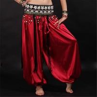 13 Colores Dancewear Danza Del Vientre Práctica Mujeres Hombres Pantalones Sueltos Tobillo Elástico de Cintura Alta Bloomers del Satén Largo Pantalones Unisex