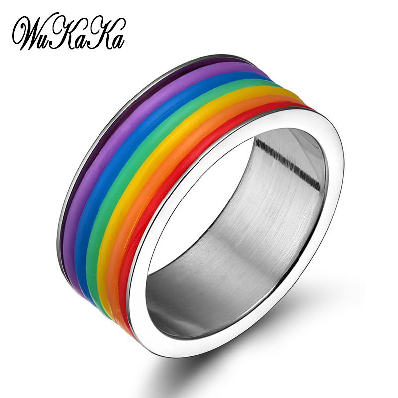 2019 Fashion LGBT Wide Same Sex Rainbow Stainless Steel <font><b>Rings</b></font> <font><b>Bisexual</b></font> Gay Pride Homosexual Silicone <font><b>Ring</b></font> Jewelry for Men image