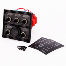 New Marine Electric Blue LED Toggle Switch Panel 5 Gang with Dual USB Charger/marine ship switch panel refit marine electric blue led toggle switch panel 5 gang with power socket panel 12v refit