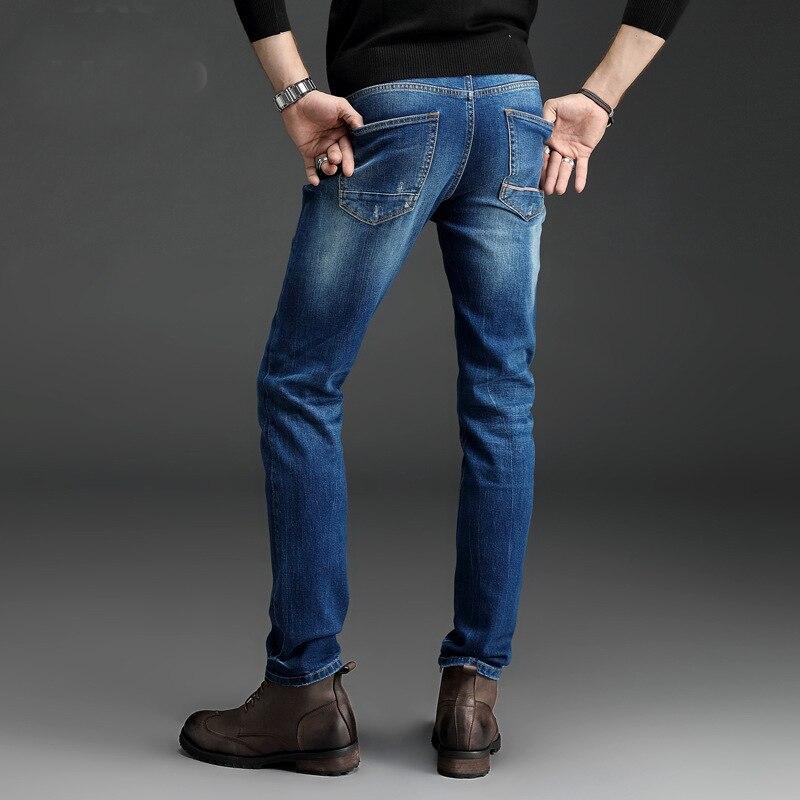 ba7561b45fd Le meilleur Ripped Skinny Jeans Hommes Stretch Trou Jeans Cool Jean Slim  Homme Tout Allumette Pantalon ...