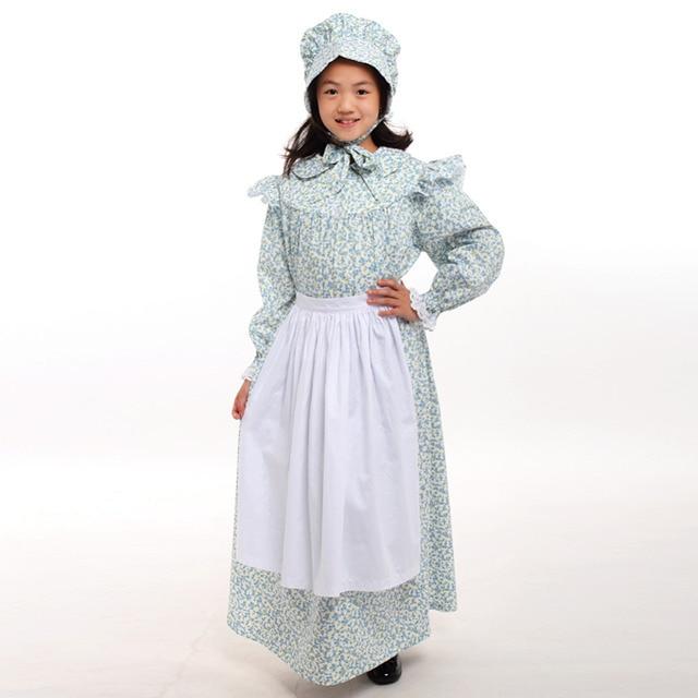 6d024bc525d Girls Costume Halloween Dress Cute Retro Colonial Rural Carnival Long  Sleeve Apron Hat Set 6-14 Years
