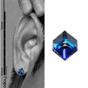 925 Pure Silver Earrings Blue Crystal Stud Earring Men Single Fashion Personality Ear