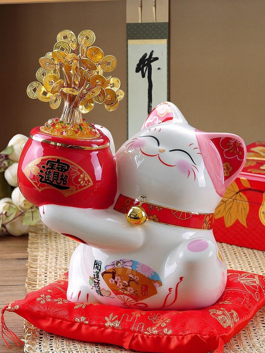 Argent arbre chat chanceux figurine tirelire chat décoration banque feng shui figurines miniatures décorations de noël accessoires