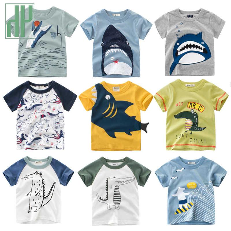 ילדי חולצת טי בעלי החיים הדפסת כותנה 2019 קיץ פעוט ילד חולצה כריש מודפס קצר שרוול תינוקת t חולצה ילדי בגדים