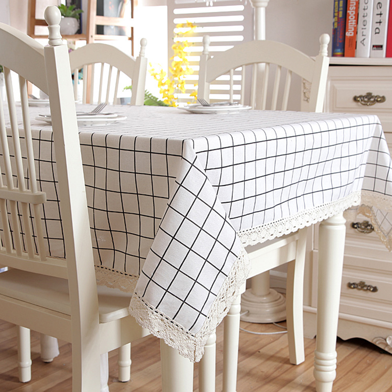 Lattice Cotton/Linen Table Cloth Lace Edge Rectangular/Square Coffee  Tablecloth For Wedding Kitchen Decor Durable Table Cover