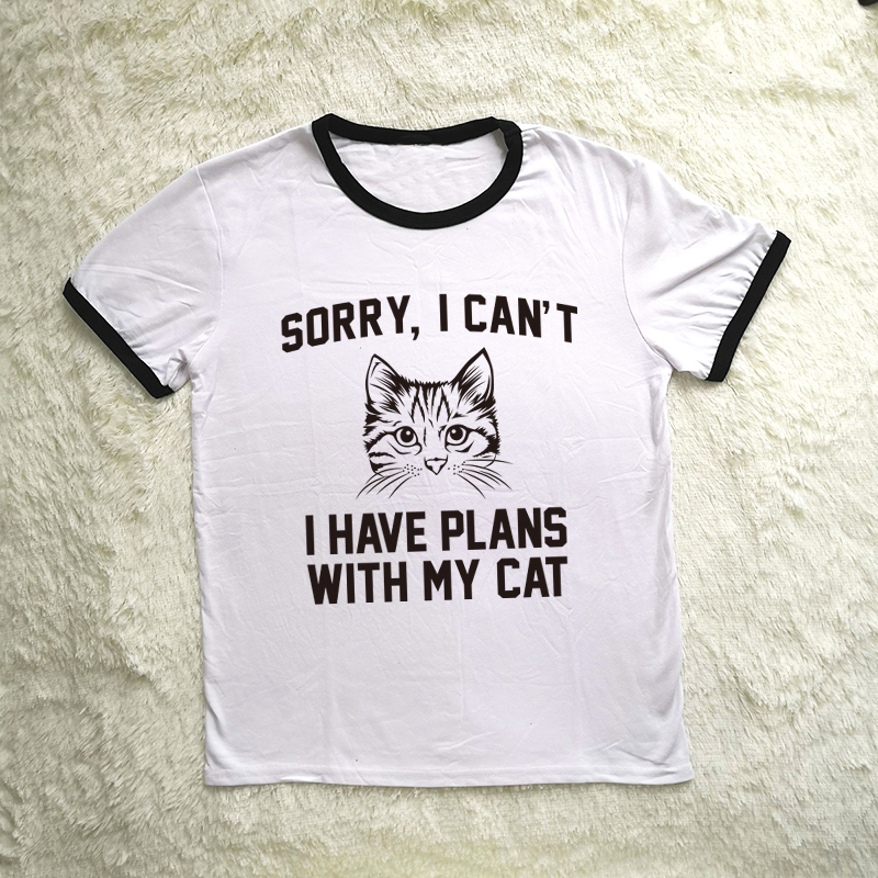 Sorry I Can/'t I have Plans With My Cat Gift Cat Owner Lady Womens T-Shirt