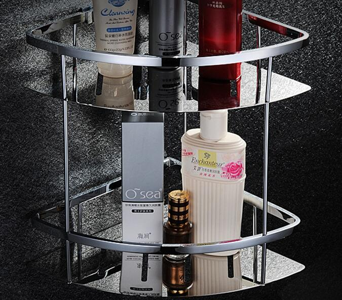 Free shipping Double tier bathroom shelf space stainless steel corner basket bathroom rack wall mounted shower shelf SUS025 black bathroom shelves stainless steel 2 tier square shelf shower caddy storage shampoo basket kitchen corner shampoo holder