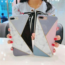 For Case IPhone Marble Geometric Back Cover Polish Stitching Geometry Imd Marble Stone Gel Case For IPhone 6S X 7 8Plus Fundas 2