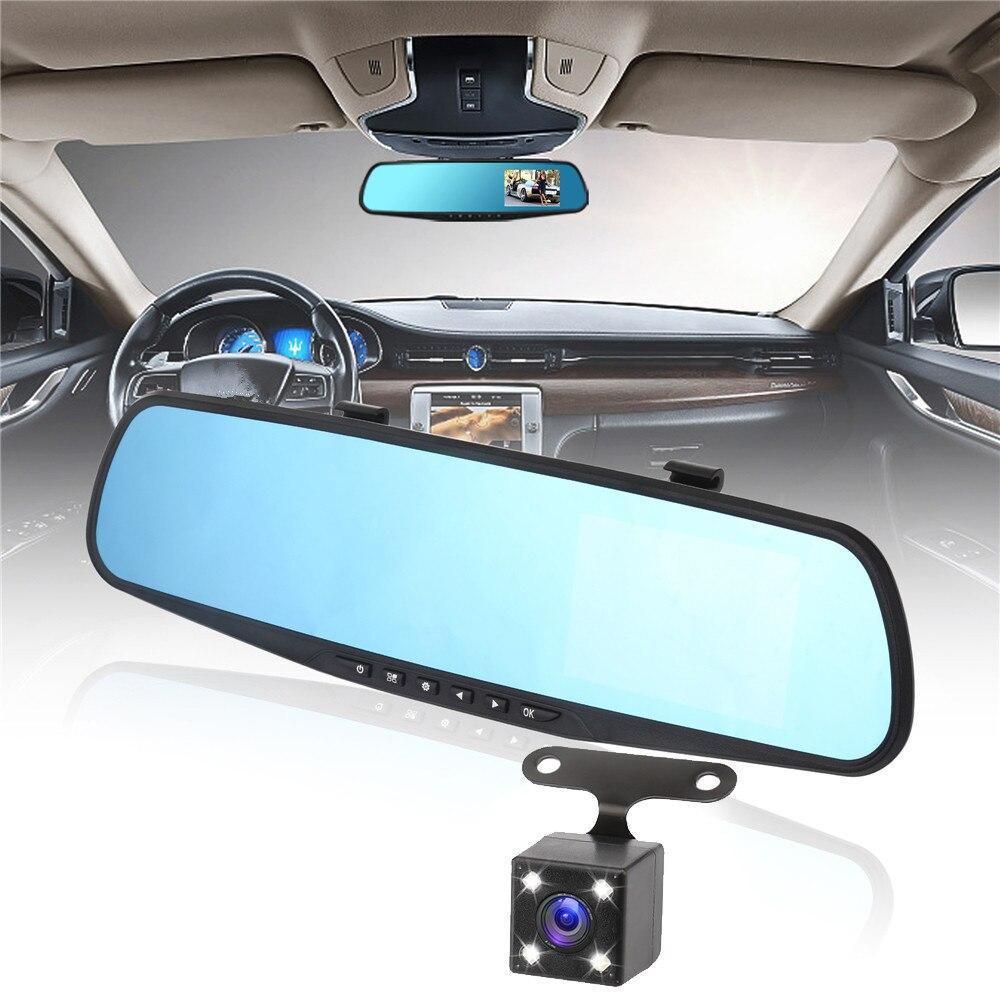 4,3 дюймов Видеорегистраторы для автомобилей Камера зеркало регистраторы dvr безопасности транспортного средства зеркало заднего вида Парковка аварийный видеорегистратор Зеркало заднего вида