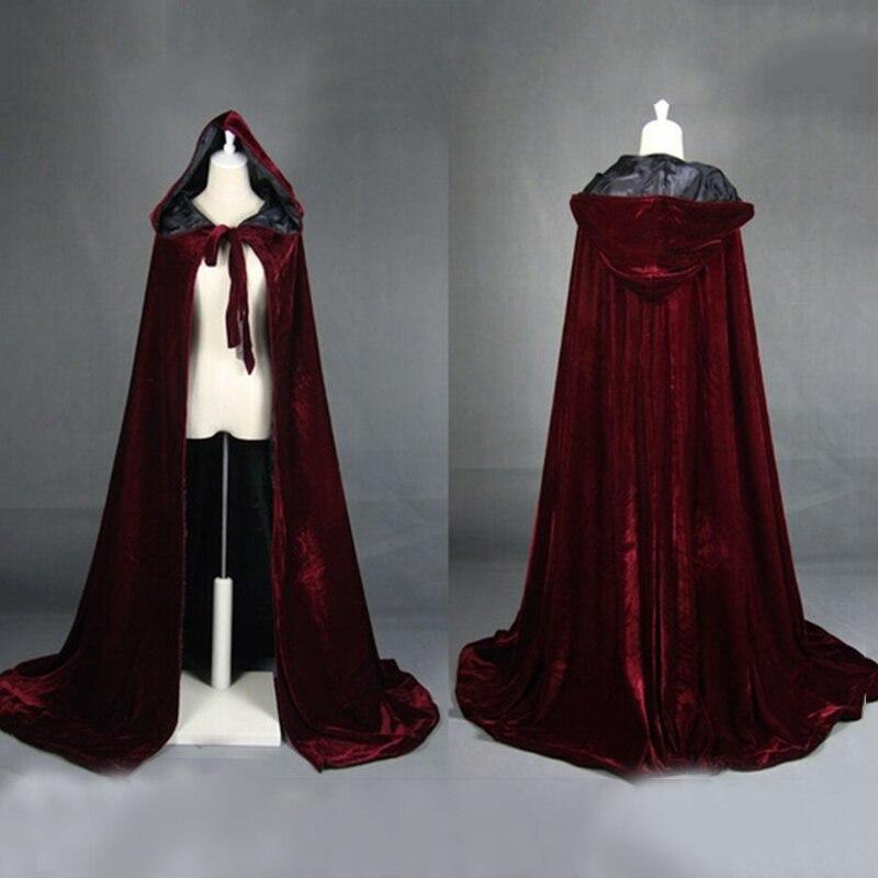 WISSTT Unisex manto con capucha capa Wicca bata Medieval capa chal Halloween Cosplay fiesta bruja mago disfraces