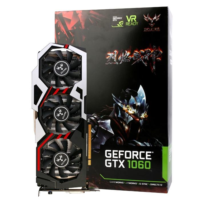 Оригинальные красочные iGame GeForce GTX1060 U-3GD5 Топ Игры графическая карта 192bit 3 ГБ GDDR5 120 Вт с трех вентиляторов
