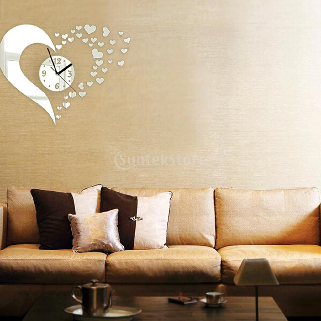 HOT SALE DIY Wall Art Clock Mirror Wall Sticker Home Decor Hearts ...