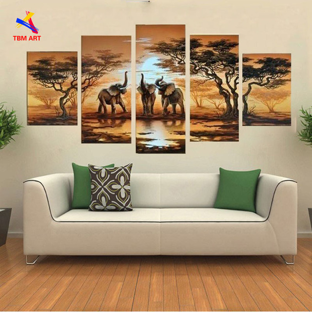 African Elephant Landscape Canvas Painting Art 100% Handmade Modern Abstract Oil Painting on Canvas No Framed Decor JYJLV237