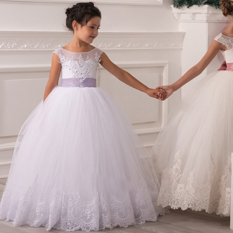 White Ball Gown First Communion For Girls Girls Pageant Dresses With ...