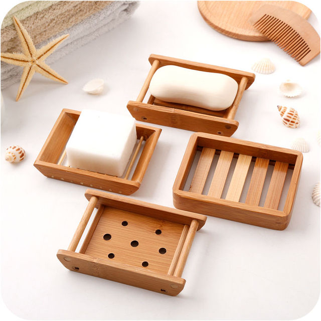 Japanese Style Creative Wooden Soap Holder Bamboo Wood Handmade Draining Box Simple Design For