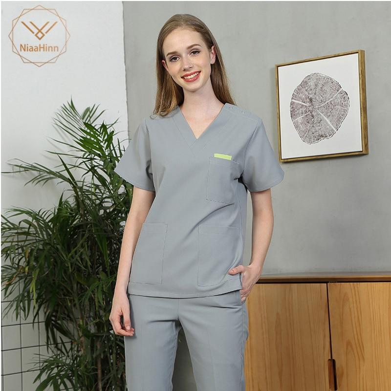 Scrubs Medical Uniform Women Nurse Uniform Beauty Salon Sets Spa Uniform Unisex Medical Surgical Cotton Pharmacy Sets Gray Coat