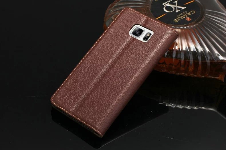 brown color genuine leather case for Samsung Galaxy Note5 cell phone