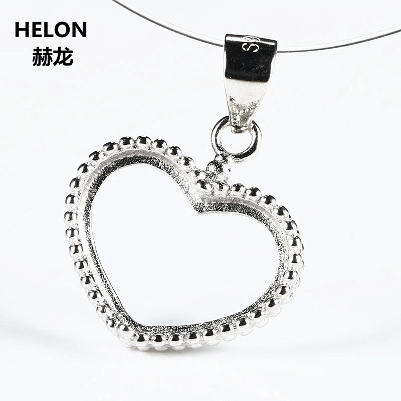 Sterling Silver 925 Semi Mount Pendant Women Engagement Wedding Party Jewelry Heart Cabochon 8.8x13mm