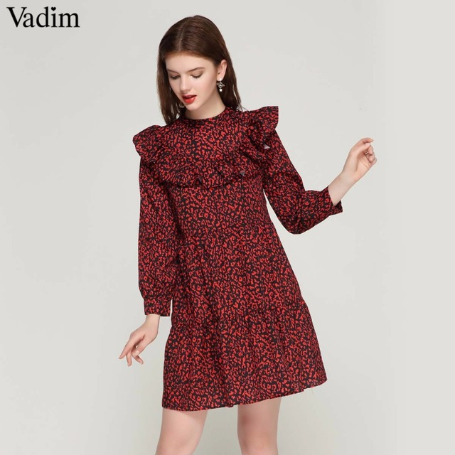 Vadim femmes vintage robe motifs léopard doux ruches à manches longues o cou plissé femelle décontracté robe droite robes QA456
