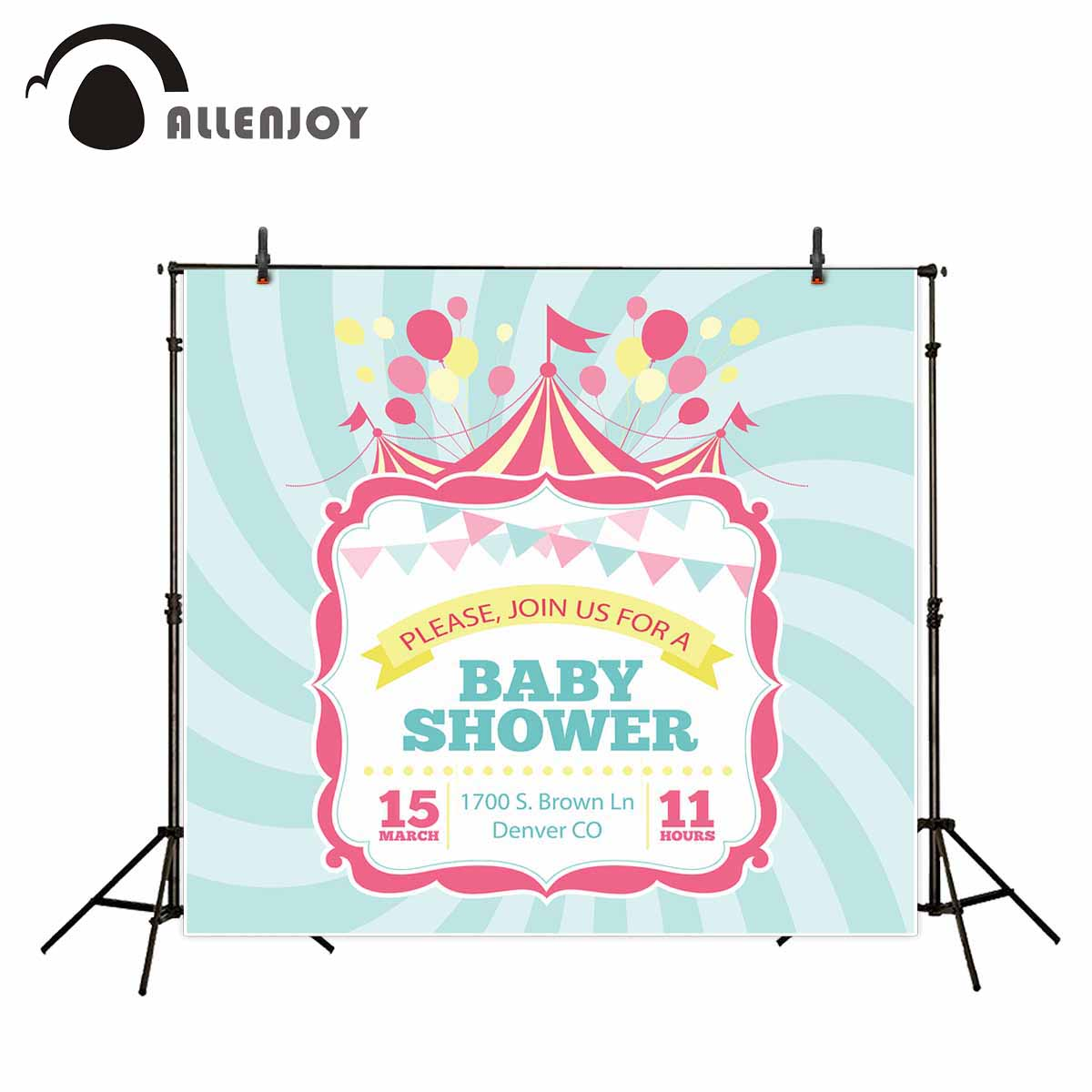 Allenjoy photo background baby shower circus flags green stripes personal custom for photocall for photography fond studio photo page flags green 50 flags dispenser 2 dispensers pack