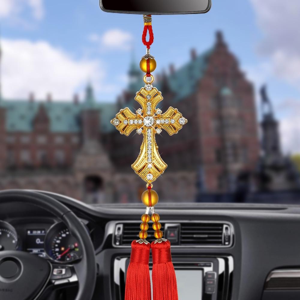 Car Pendant Metal Crystal Diamond Cross Mirror Hanging Ornaments Automobiles Int