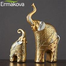 ERMAKOVA 2 Pcs Pair Vintage Golden Resin Mother Child Elephant Statue Animal Figurine Sculpture Garden Home