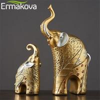 ERMAKOVA 2 Pcs/Pair Vintage Golden Resin Mother&Child Elephant Statue Animal Figurine Sculpture Garden Home Wedding Decor Gift