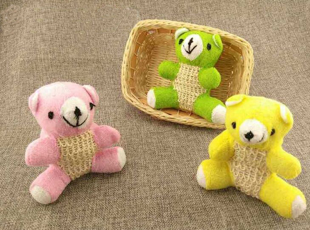 1PCS Little bear doll Bath ball Shower Bath Gloves Exfoliating Wash ...