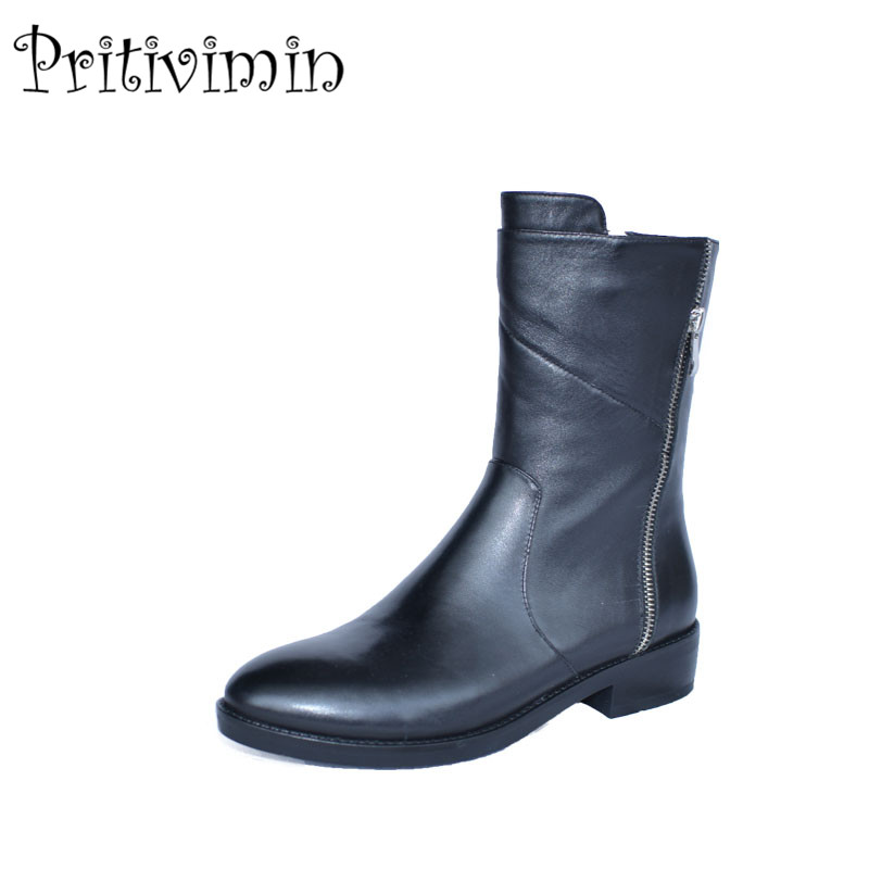 2018 Fashion women warm winter shoes girls plush lining short boots Ladies cow leather h ...