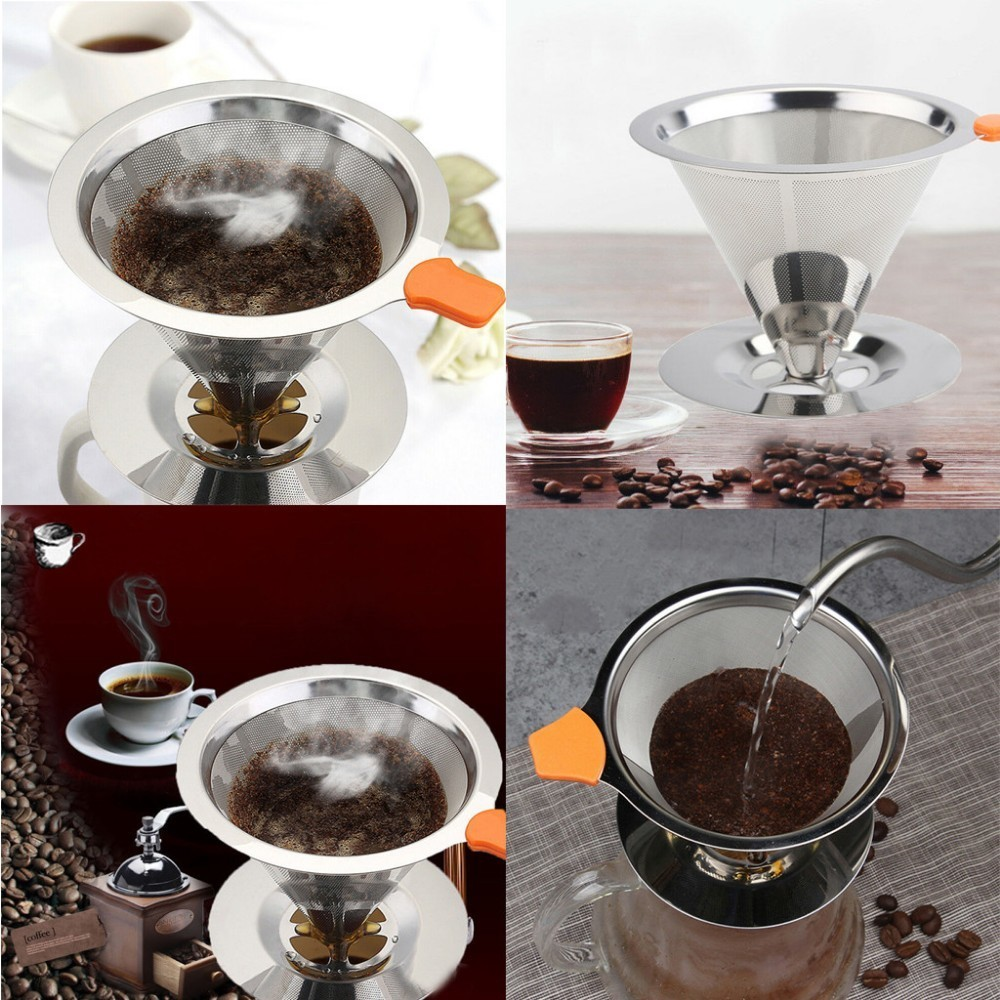 Reusable Coffee Filter Stainless Steel Holder Metal Mesh Funnel Baskets Drif Coffee Filters Cone Dripper Drip Coffee Filter Cup