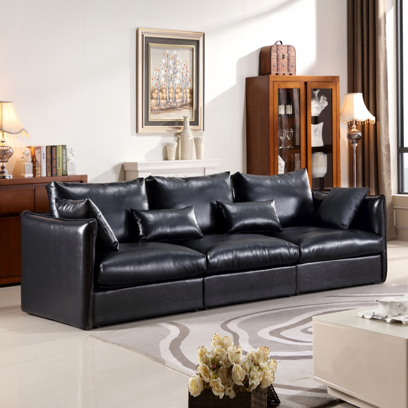 Nordic leather sofa modern minimalist first layer cowhide - Small apartment sectional sofa ...