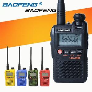 Image 1 - 2 PCS Baofeng UV 3R Mini Walkie Talkie CB Ham VHF UHF Radio Station Transceiver Boafeng Dual Double Band Amador Woki Toki PTT