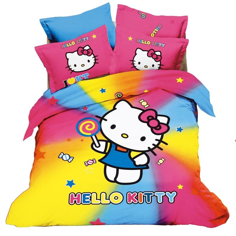 3/4 ps Hello kitty patrón de la historieta de Dibujos Animados textiles para El