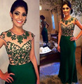 2015 Hot Selling Stunning Beaded Mermaid Green Evening Dresses/Gowns with Stones Long Cap Sleeve Prom Dresses Discount On Sale