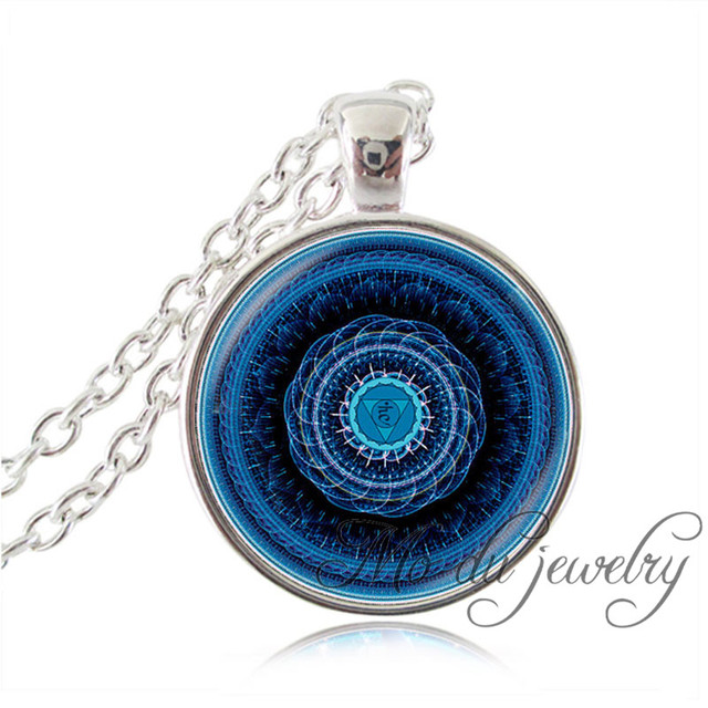 Throat chakra mandala pendant necklace blue om flower necklace yoga throat chakra mandala pendant necklace blue om flower necklace yoga jewelry glass dome art picture choker aloadofball Gallery
