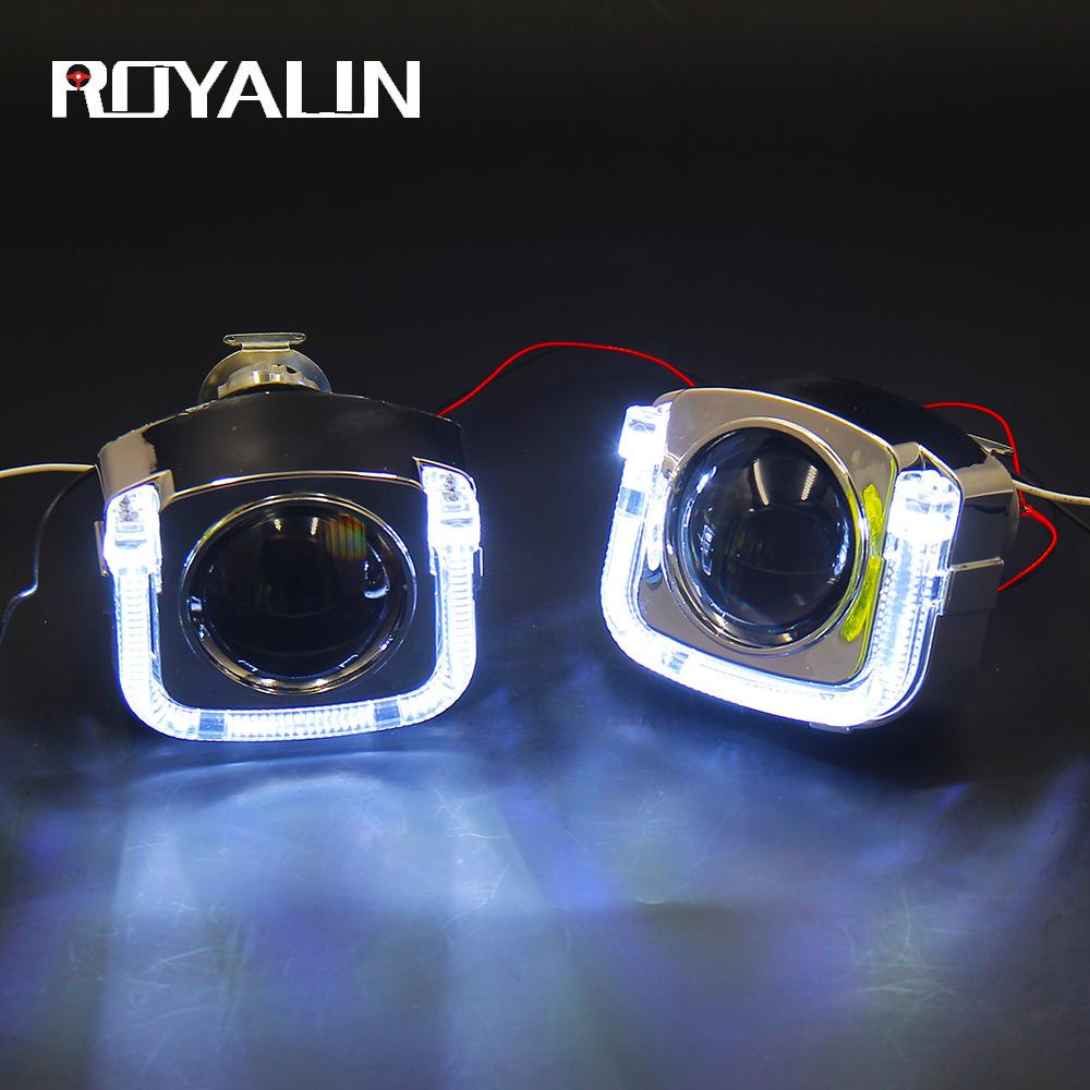 ROYALIN DRL Daytime Running Light U Type Angel Eyes White Red Blue Yellow Mini 2.0 Projector Lens Bi Xenon HID For H1 H4 H7 Lamp for brilliance h220 3 in 1 white angel eyes drl yellow signal light h11 halogen xenon e13 fog lights projector lens