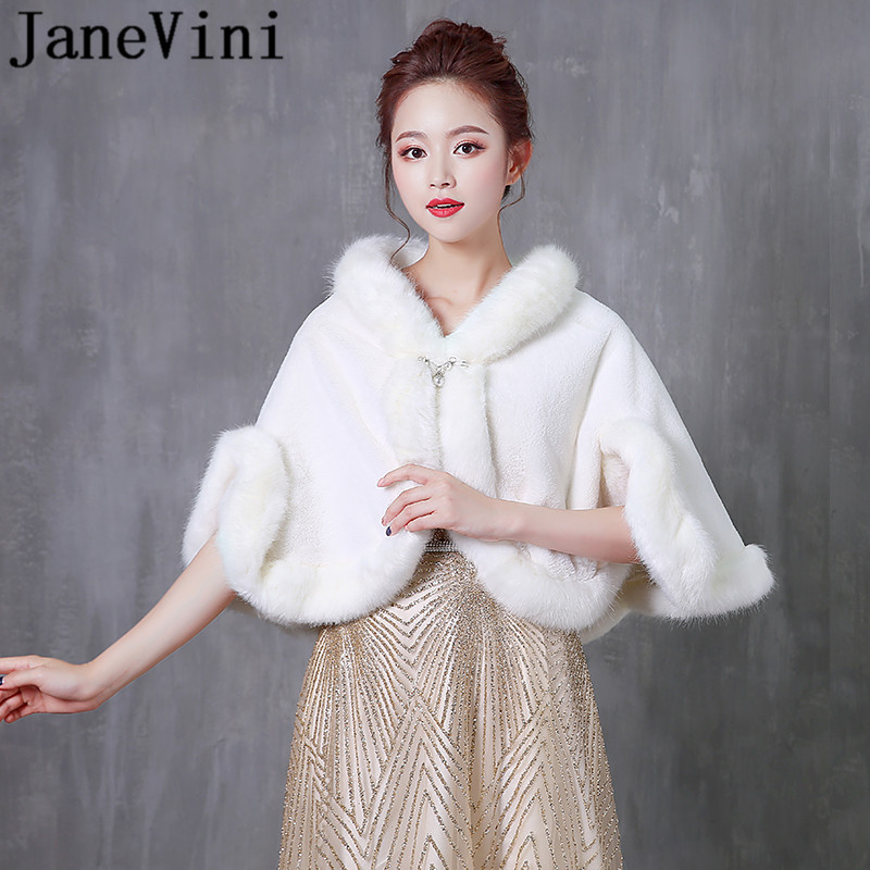 JaneVini Elegant Fur Bride Shawl High Neck Beaded Pin Hooded Bridal Winter White Wedding Bolero Cape Faux Fur Wraps Stoles Cloak