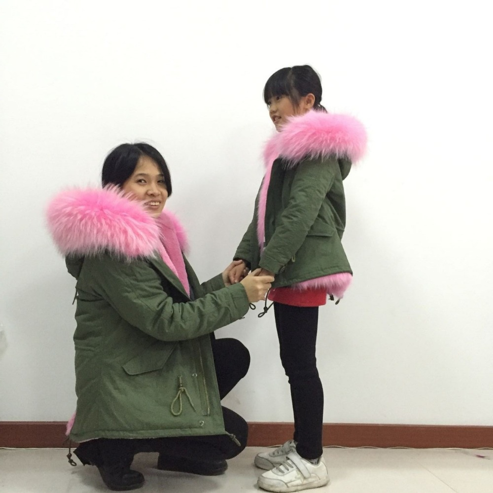 797f2a52e Mother&daughter wear Snug pink fur jacket,fashion kids real collar ...