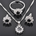 Classic style Black Cubic Zirconia Silver Jewelry Sets For Women Earrings/Pendant/Necklace/Rings  Free Shipping  JS0151