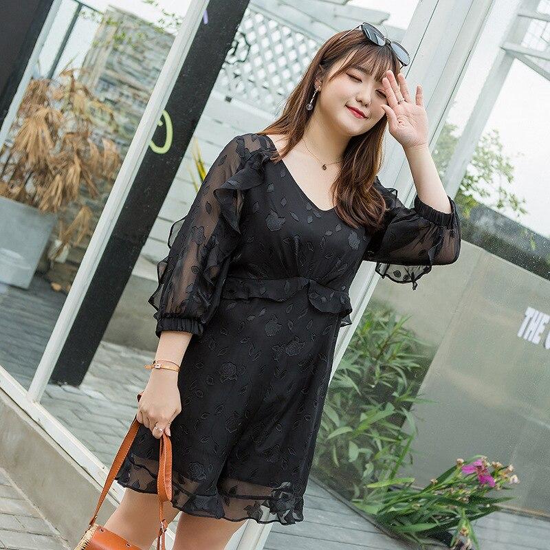 Plus Size 4XL Spring Elegant Women Black V Neck Playsuits Rompers Boho Print Ruffle Jumpsuit Casual Beach Short Overalls