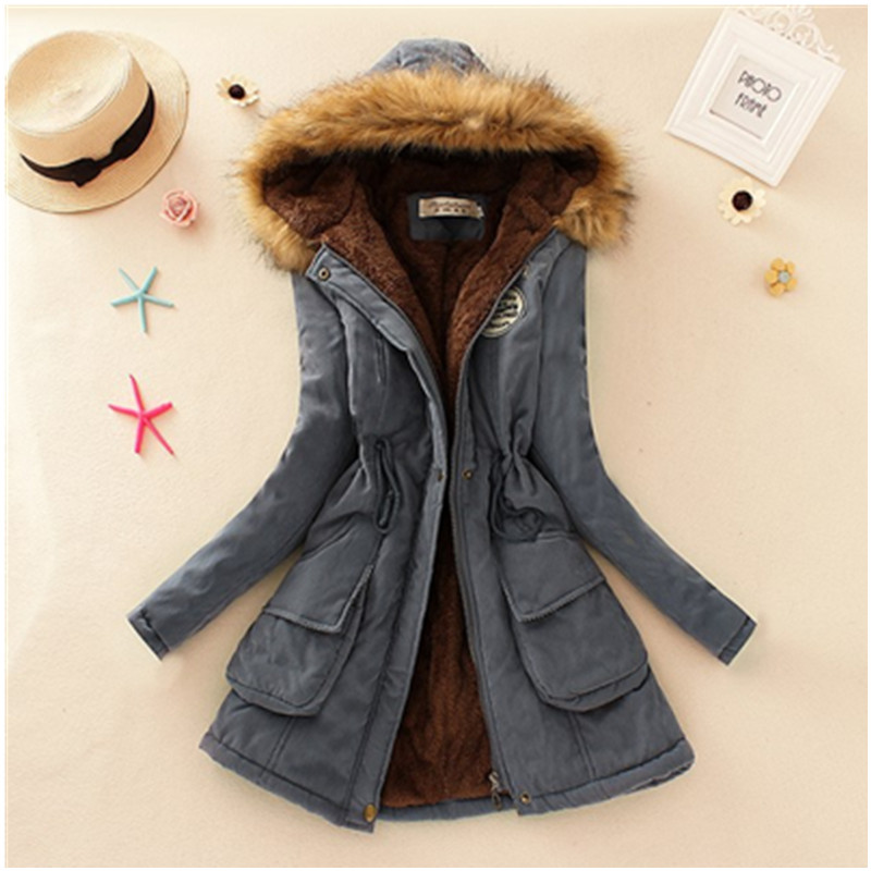 2019 Winter New Women's Hooded Fur Collar Waist And Velvet Thick Warm Long Cotton Jacket   Coat