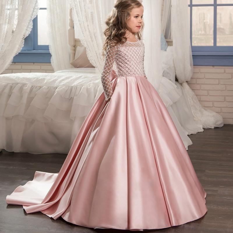 2018 New Girls Clothing Dress Kids Lace Satin Bow Trailing Dresses Girl Princess Elegant Wedding Bridesmaid Flower Dress GDR395
