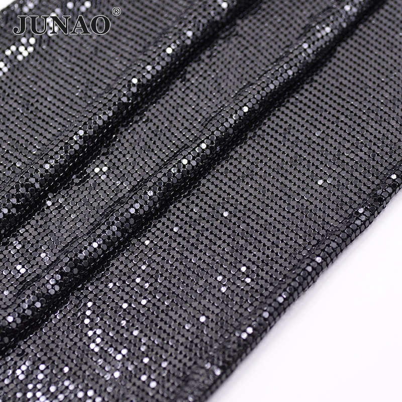JUNAO 45*150cm Black Rhinestones Fabric Metal Trim Aluminum Mesh Strass Applique Crystal Ribbon Banding for Dress Bag Crafts