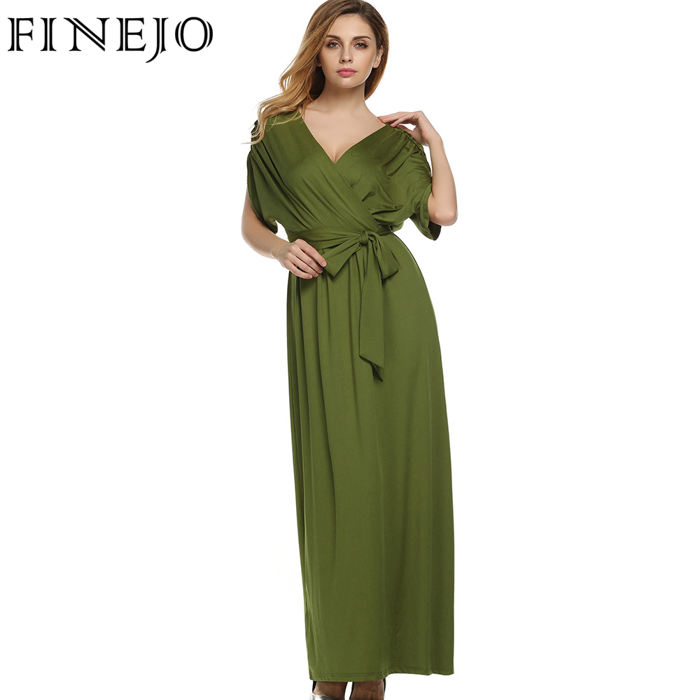 158a300bd1e FINEJO Sexy Women Summer Dress Batwing Dress Deep V Neck Maxi Long ...