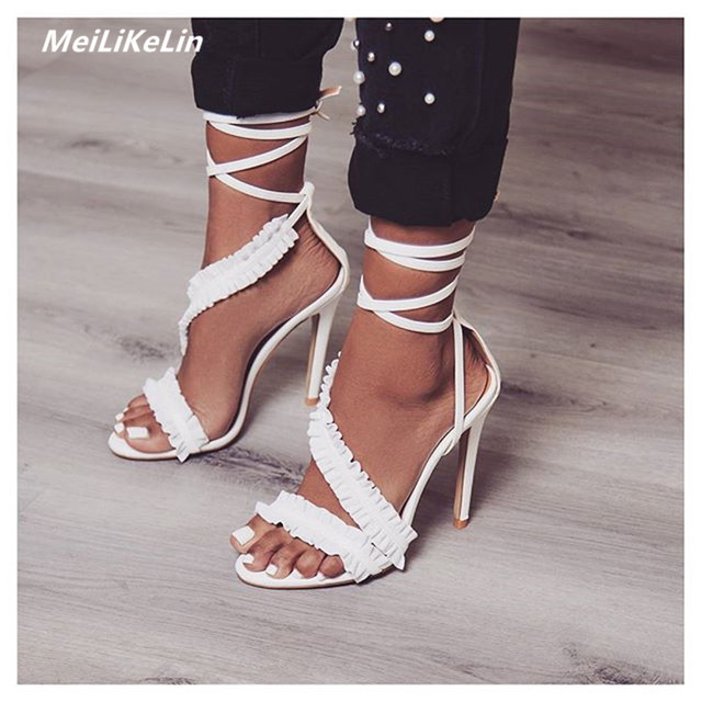 deafd5a11862b MeiLiKeLin Bandage Ankle Strap Heels Women White Sandals Female Lace up  Summer Shoes Ladies Ruffles High Sandals Thin Heel Pumps