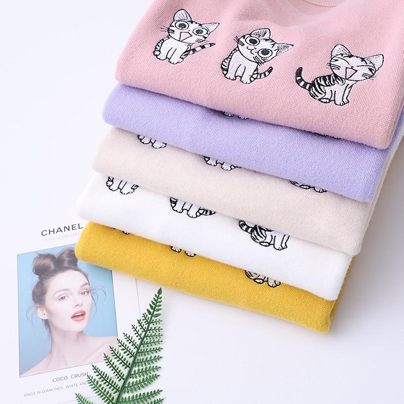 Camisa De Blanco Mujeres Japonés Camisas Blusa Nuevas Lindo Las Negro Estilo 8848 Pequeño Formal Bordado Gato Reducción Hedge Tejer Suéter Tq15wRSx5