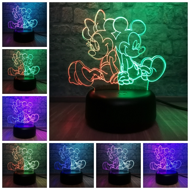 Cartoon Mice Mouse Mikey Minnie 3D LED Mix Color Lamp Baby Room Decor Table  Sleep Night Light Atmosphere Christmas Gift Toys 21696f2eff15